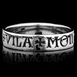 french here is my heart white gold poesy ring