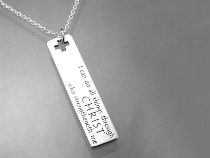 'I Can Do All Things Through Christ Who Strengtheneth Me' Sterling Silver Posy Necklace