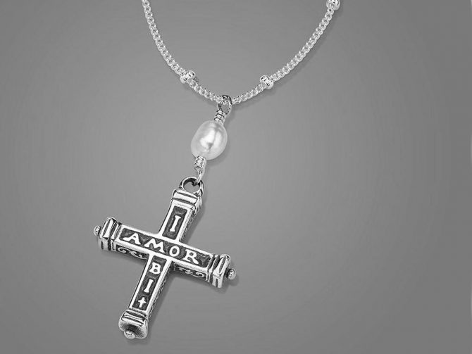 'Where There is Love There is Faith' Latin Cross Posy Necklace