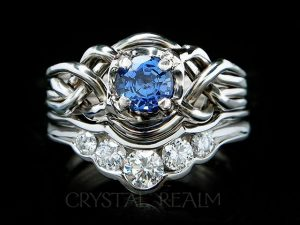 Guinevere sapphire puzzle ring with diamond shadow band