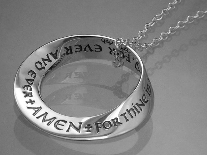 Lord's Prayer Doxology Mobius Strip Necklace
