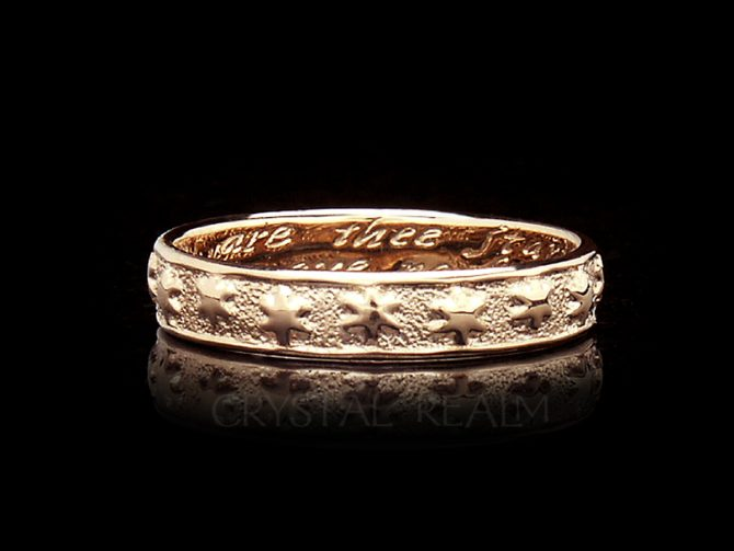 Many are the Starrs I See, Traditional English Posy Ring, 14K Rose Gold, No Antiquing