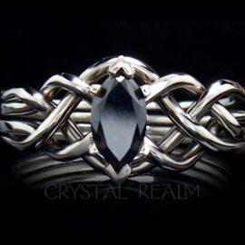 marquise black diamond puzzle ring 14kwg 1