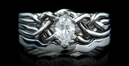 puzzle ring bridal set with marquise diamond and shadow band