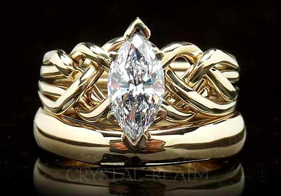 One carat marquise diamond bridal set in heavy weight 14K yellow gold