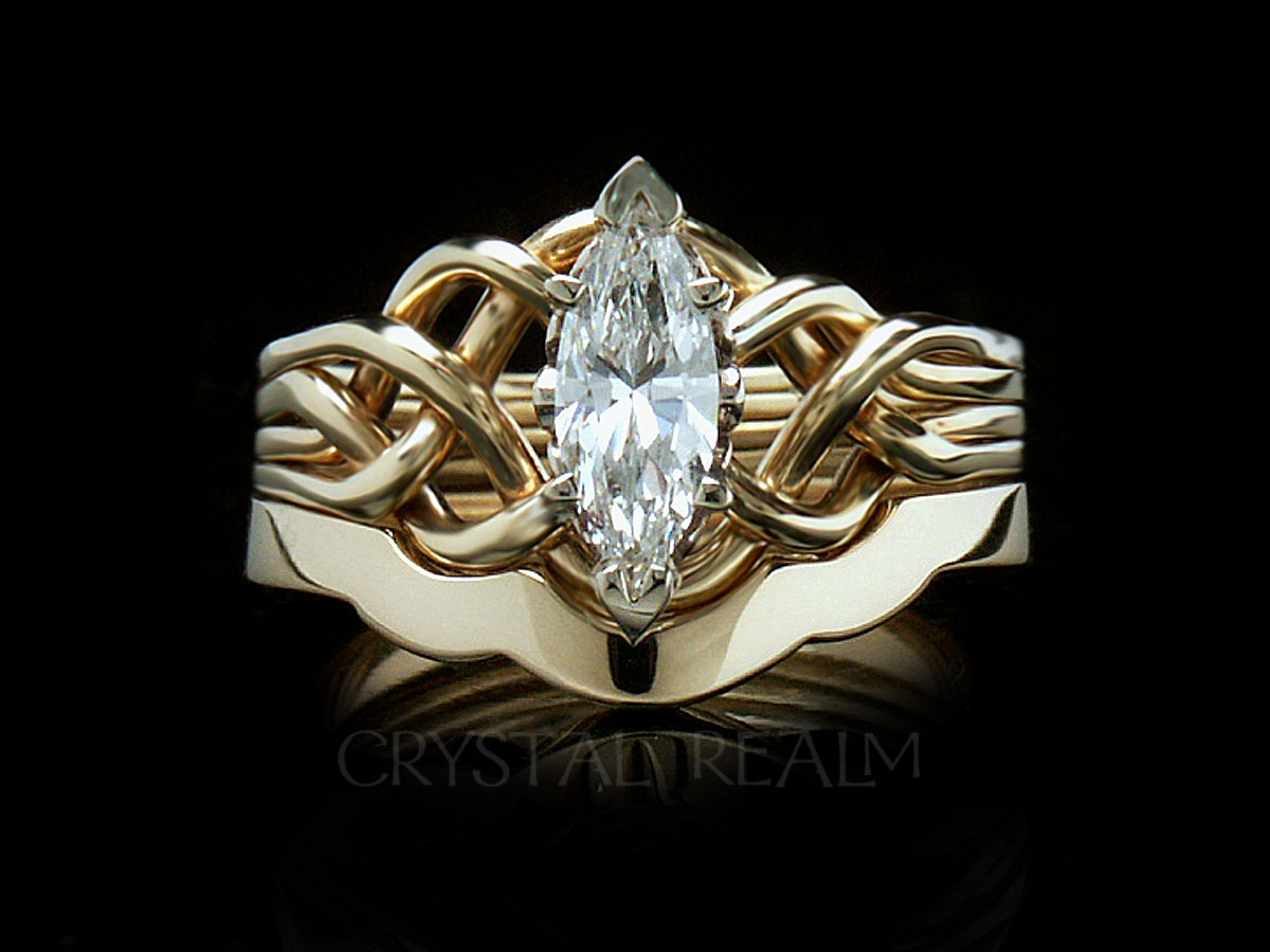 Marquise diamond four band puzzle ring with 2mm shadow band in 14k yellow gold