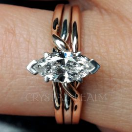 Trinity 3-Band Marquise Diamond Puzzle Ring in 14K Rose Gold and Platinum