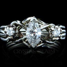 three diamond puzzle engagement ring in palladium