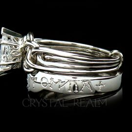 """Marquise Diamond Puzzle Ring with Custom-Engraved """"Love Conquers All"""" Posy Ring, Platinum"""