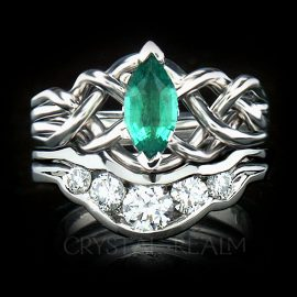 marquise emerald puzzle ring diamond shadow band 1