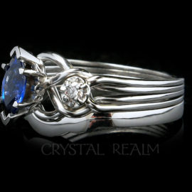 Marquise Sapphire Royale Engagement Puzzle Ring with Accent Diamonds with 2mm Shadow Band