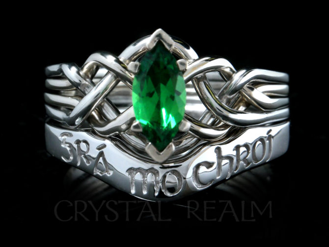 marquise-green-garnet-puzzle-ring-with-gaelic-love-of-my-heart-shadow-wedding-band