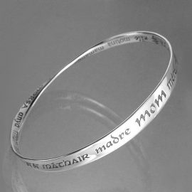 Sterling silver mobius strip bracelet with 'mom' in 32 languages