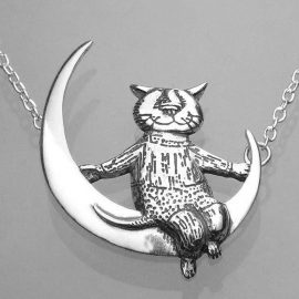 moon cat sterling silver necklace eg022n