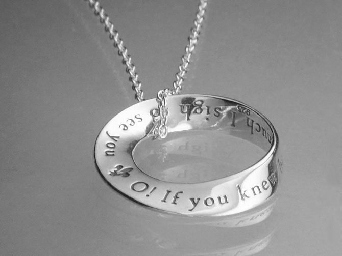 'O! How I Sigh to See You' Sterling Silver Posy Necklace