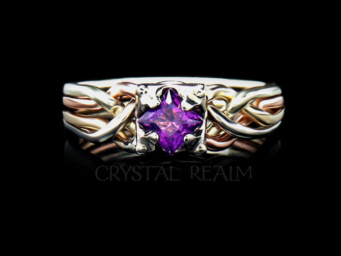 Princess cut amethyst four piece puzzle ring in four colors of 14k gold
