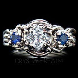 puzzle engagement ring pt50dia side sapphires 1