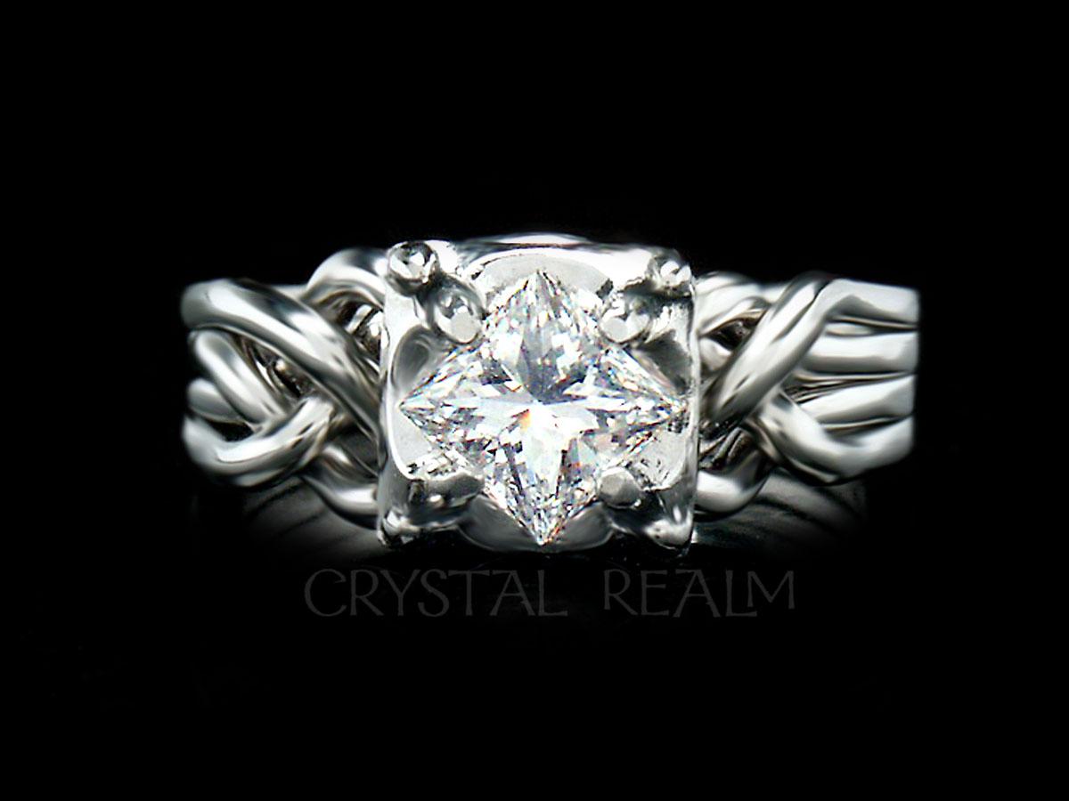 Guinevere puzzle engagement ring with three-quarter carat, princess-cut diamond