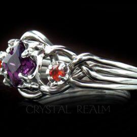 amethyst and poppy topaz three stone engagement ring