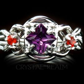 Guinevere four-band amethyst puzzle engagement ring with poppy topaz accents