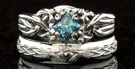 handwoven 4 piece puzzle ring with a one half carat princess blue diamond and a celtic claddagh wedding band