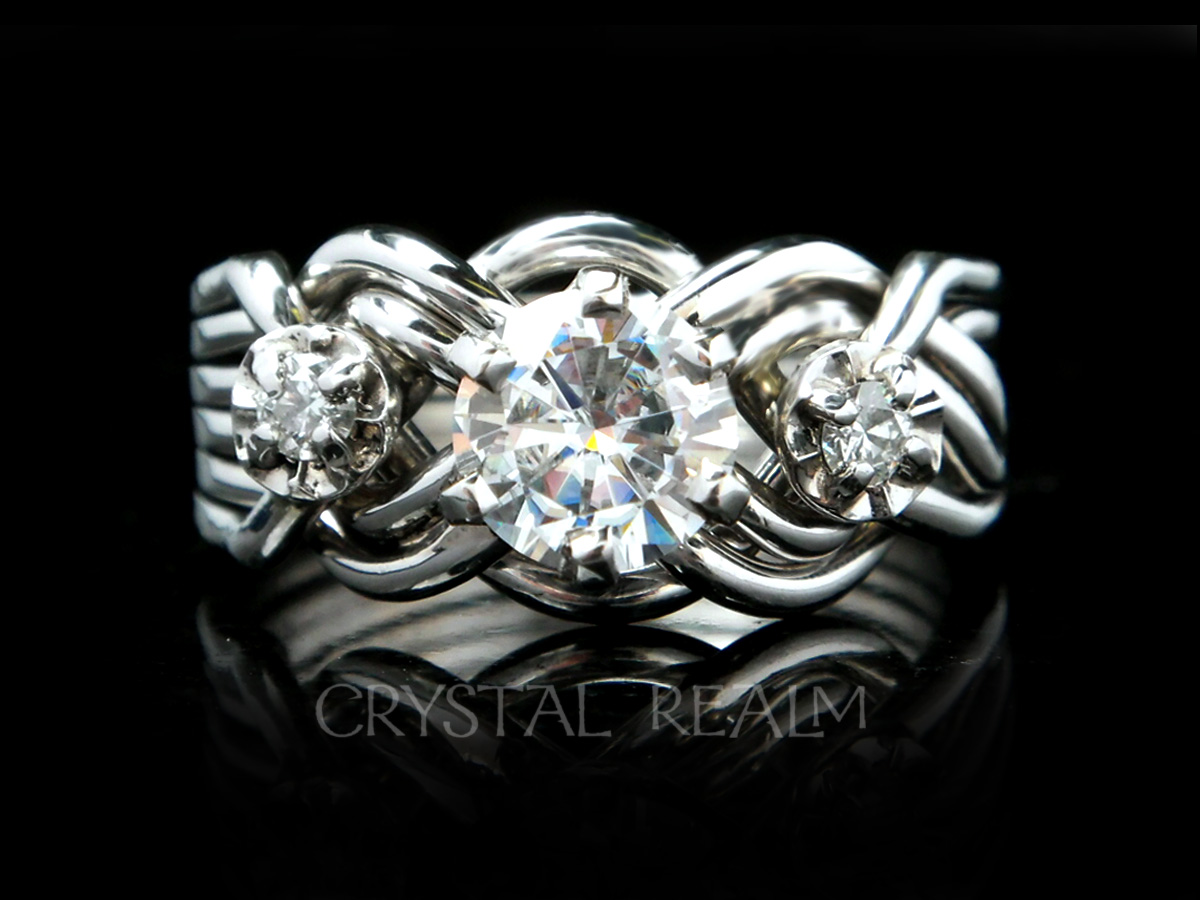 Platinum six band puzzle ring with round center moissanite and side diamonds