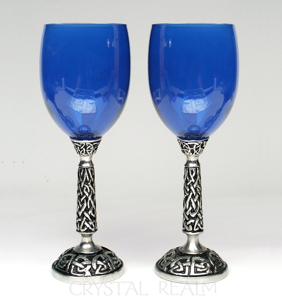 Royal blue wine glass or communion goblet with Celtic knotwork stem