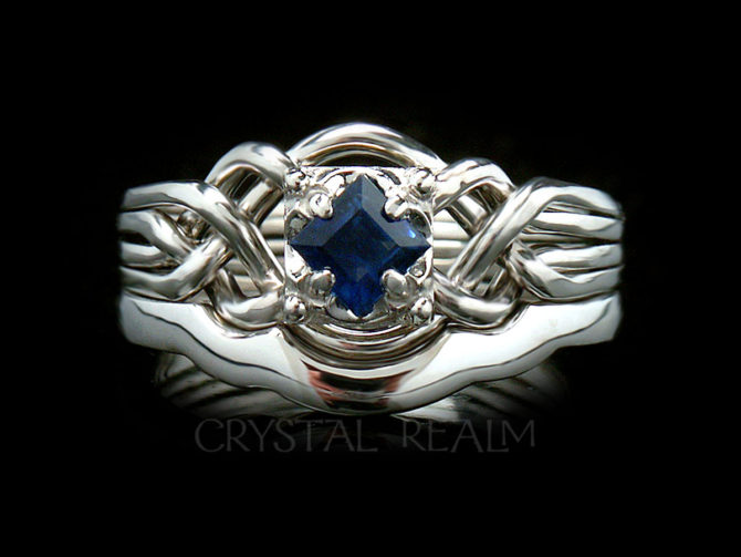 Guinevere Engagement Puzzle Ring with Princess-Cut Sapphire and 2mm Shadow Band, Platinum