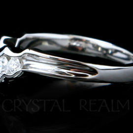 Side view tapered five-diamond shadow wedding band
