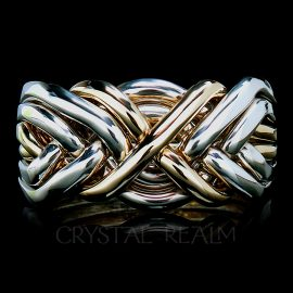Six band puzzle wedding ring also known as a Turkish wedding ring has four bands 14k white gold and two bands 14k yellow gold