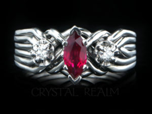 marquise ruby royale six band puzzle ring with accent diamonds