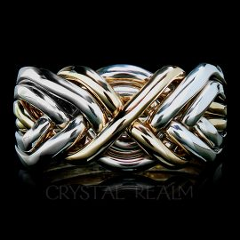 Six piece puzzle ring four bands sterling silver two bands yellow gold