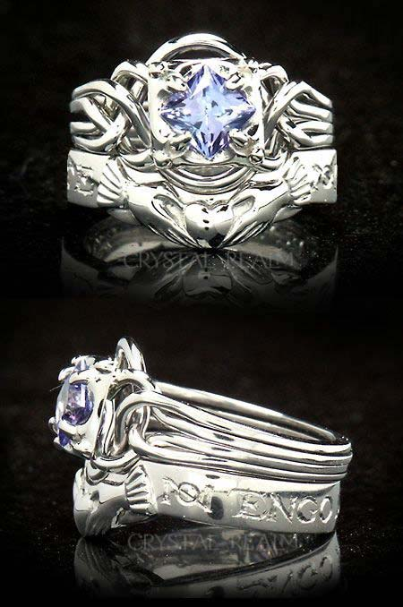 Four band, Guinevere engagement puzzle ring with a Spanish posy ring