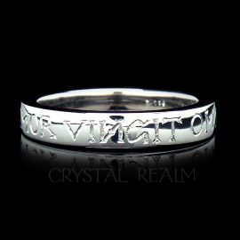 Tapered wedding band with hand engraved amor vincit omnia, Latin for love conquers all