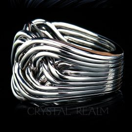 Ten Band Puzzle Ring, Heavy Weight in Sterling Silver