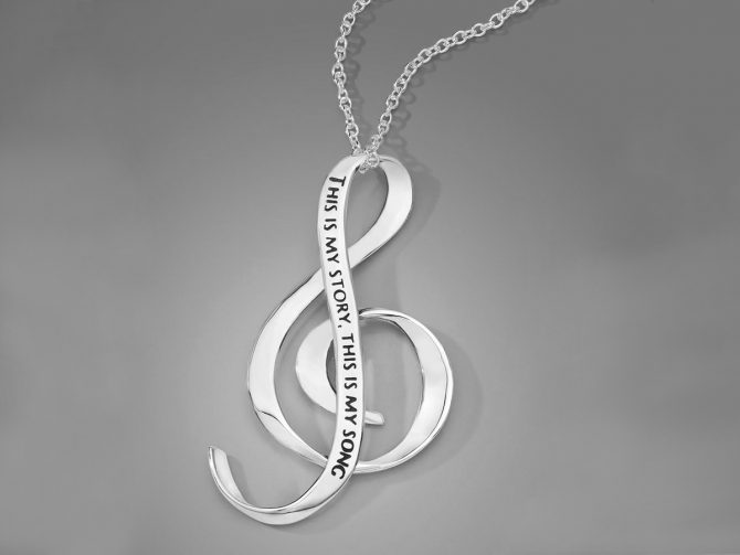 'This is My Story, This is My Song' Treble Clef Posy Necklace in Sterling Silver