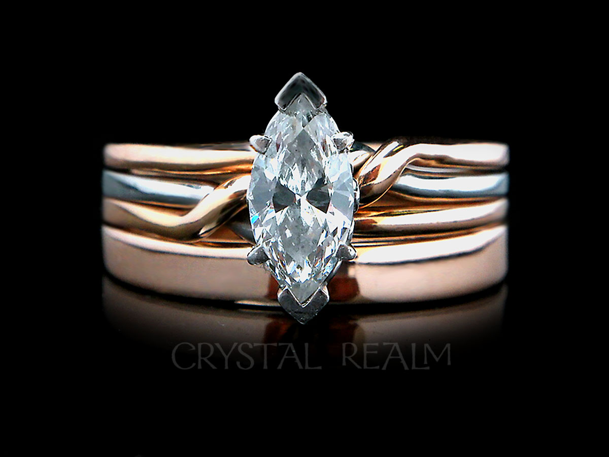 Trinity puzzle ring with diamond and custom wedding band