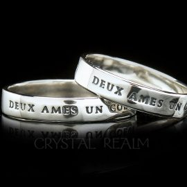 Two souls one heart French poesy ring in sterling silver