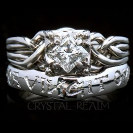 """Guinevere puzzle ring with custom """"amor vincit omnia"""" shadow band"""