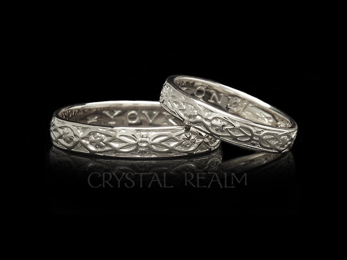 'Yovrs Onli', Traditional English Posy Ring, 14K White Gold, No Antiquing
