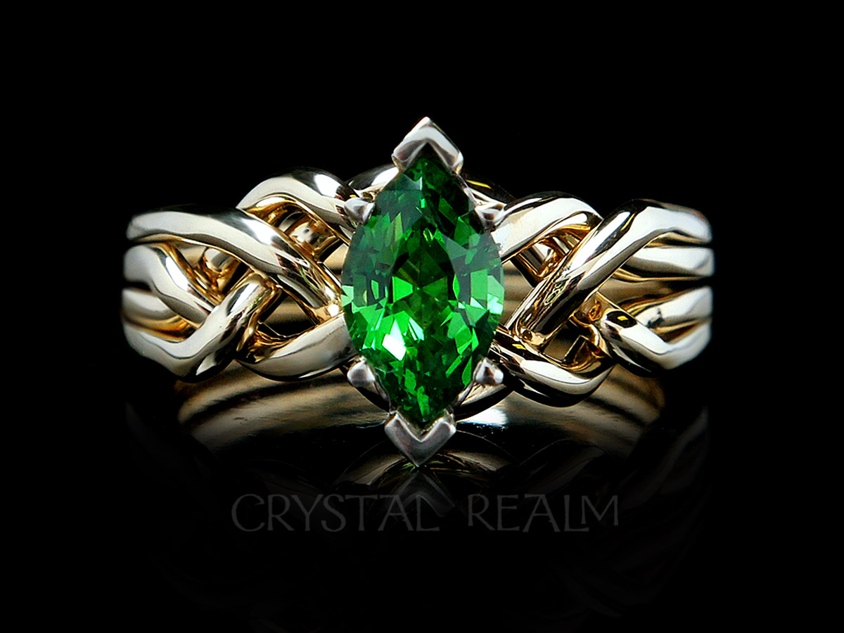one carat tsavorite garnet puzzle ring in 14K yellow gold