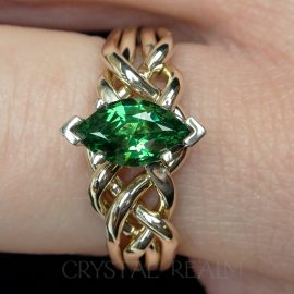 marquise green garnet on medium-heavy 14k yellow gold four piece puzzle ring