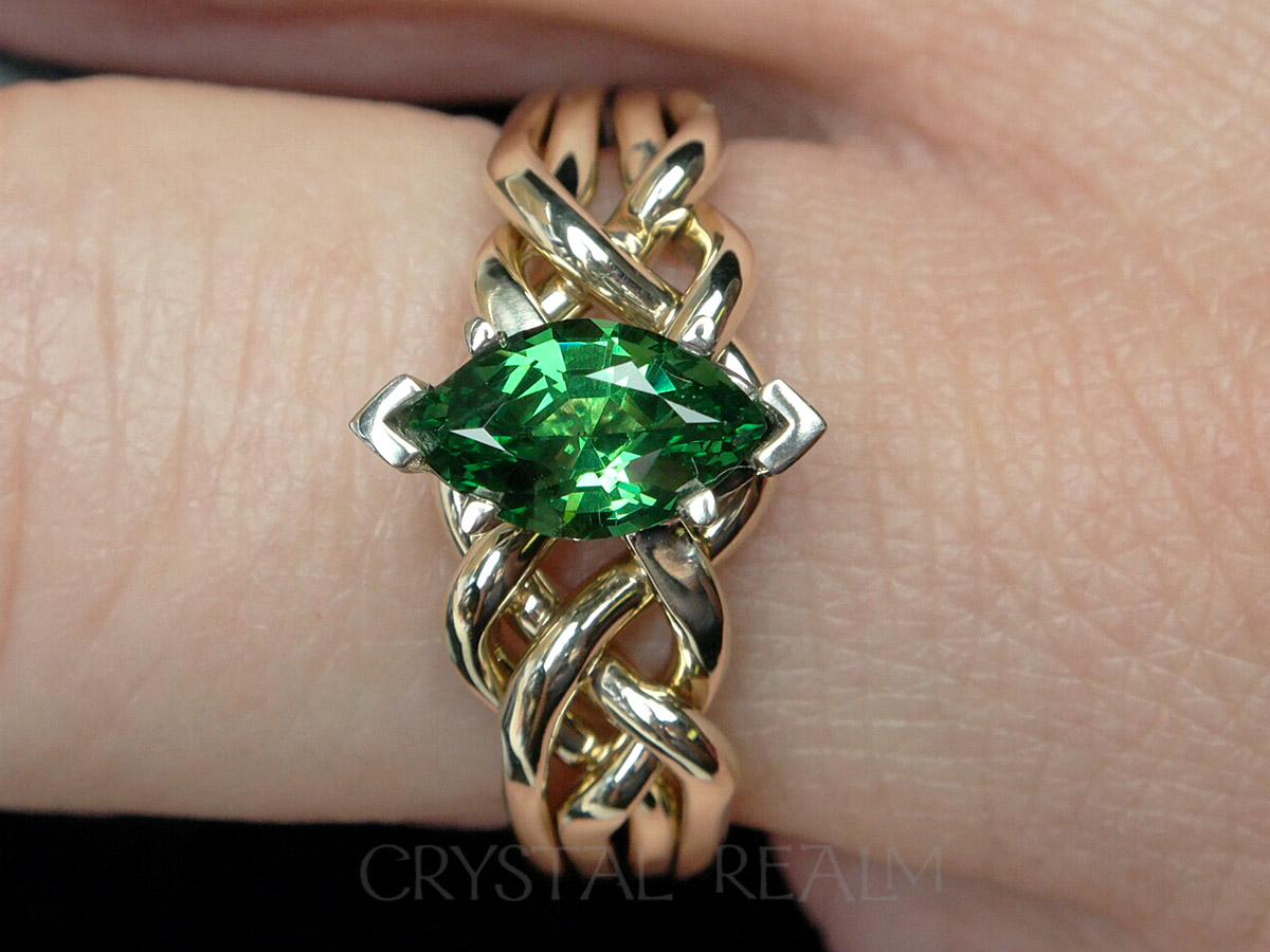 e set htm claddagh wedding p emerald gold green white heart ring rings