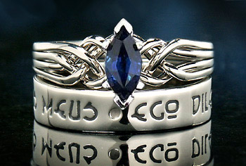 Marquise sapphire puzzle ring with Latin I am my Beloved's Poesy Ring