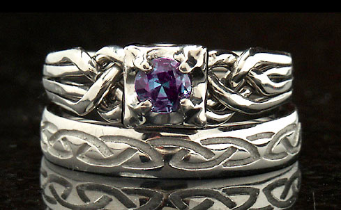 Celtic knotwork engagement ring - puzzle engagement ring - alexandrite - with recessed eternal knot band