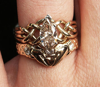 1CT range marquise diamond puzzle ring with optional diamond claddagh band