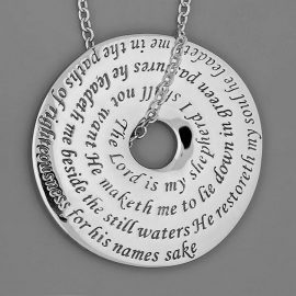 23rd psalm sterling silver disk necklace st144n