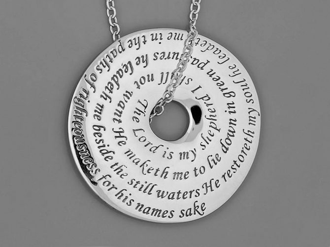 'The Lord Is My Shepherd' 23rd Psalm Posy Necklace