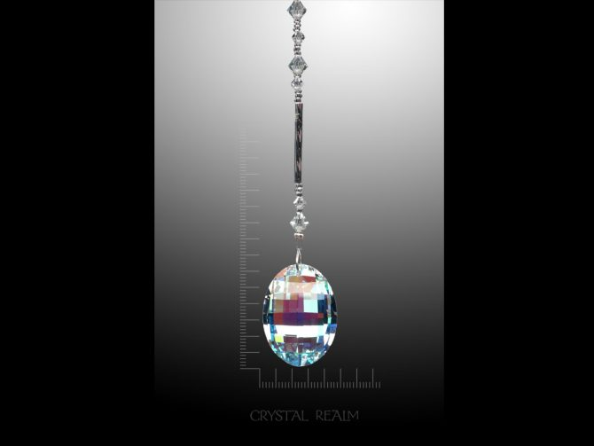 Swarovski Crystals - 32mm Crystal AB Oval Aspen Crystal Suncatcher