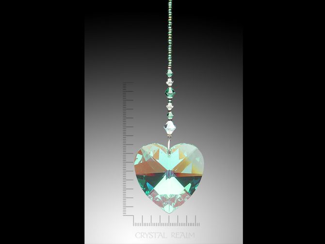 Swarovski Crystals - 40mm Crystal Green AB Heart Suncatcher